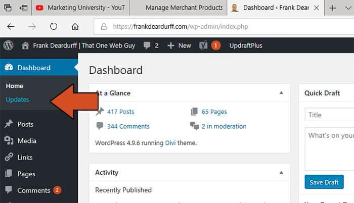 dashboard updates wordpress
